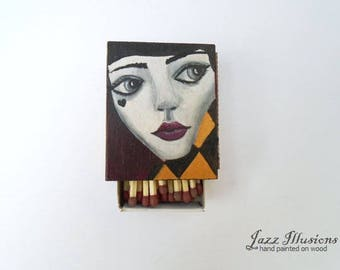 "Matchbox Handmade Hand painted Acrylics On Wood Smoking Lovers Gift  Unique Home Decor Art Gift For Her   ""Pierrot"""