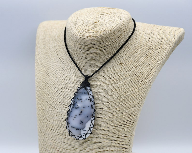 Dendritic Agate Jewelry for Women Rustic Gifts for Birthday White Pendant Necklace