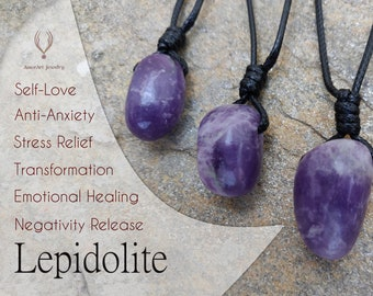 Lepidolite Necklace, Love & Emotional Healing Crystal Pendant, Bohemian Jewelry, Anti Anxiety Necklace, Stress Relief Birthday Gift for Her