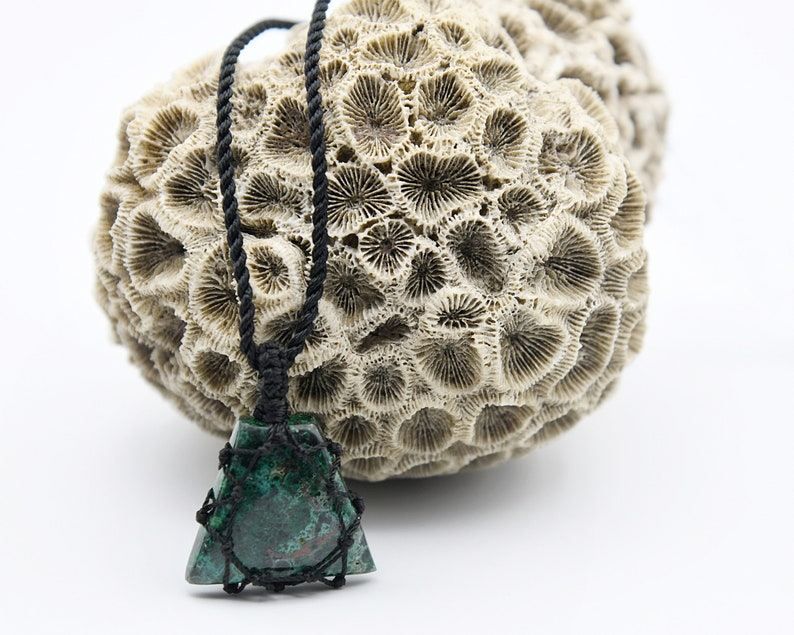 Hipster Gift for Him Natural Stone Necklace Unique Men/'s Jewelry Chrysocolla Pendant Necklace