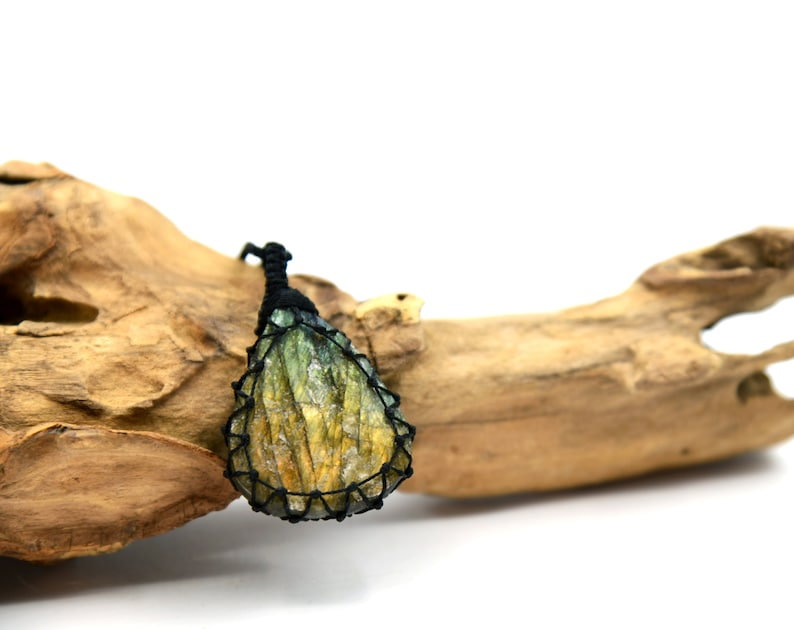 Raw Labradorite Pendant for Men Boyfriend Gifts for Birthday Druzy Necklace Natural Crystal Jewelry