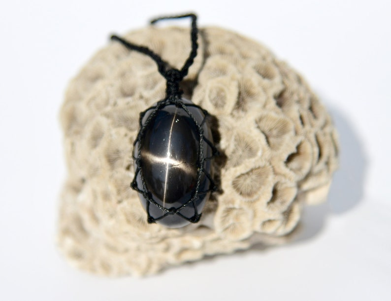 Black Star Diopside Pendant Black Stone Necklace Men/'s Necklace Celestial Jewelry Husband Gifts for Birthday