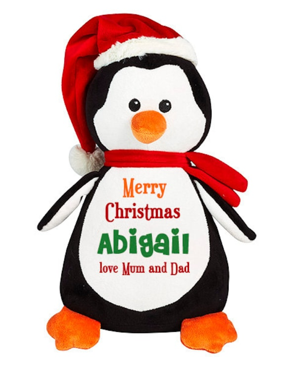 Personalized Christmas Penguin Soft Toy cute plushie penguin  50ca01cf9