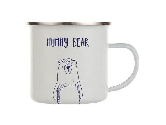 Enamel Mug Papa Bear Men/'s White 8cm