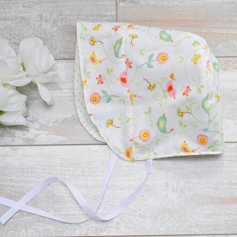 Rose and Ruffle Modern Fit Sun Bonnet Sun Hat Size 12-24 READY to SHIP Whimsical Birds Birdies Cotton Reversible Baby Bonnet