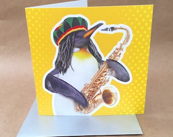 Light hearted colourful jazz penguin BIRTHDAY or GREETINGS card