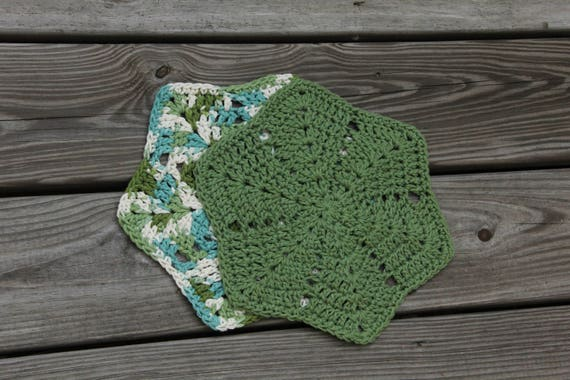 Crocheted Washcloths Star Dishcloths Crochet Star Etsy