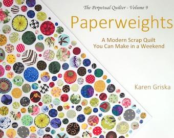 Paperweights Quilt Pattern, Modern Scrap Quilt, Easy Quilt Pattern, PDF, qtm