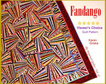 "Fandango Quilt Pattern, Art Quilt, Wall Quilt, String Quilt, Scrap Quilt, 66"" x 66,"" You Can Do This! (NOT paper-piecing)"