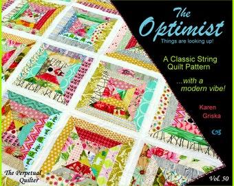 Optimist Quilt Pattern, Modern Quilt, String Quilt, Scrap Quilt, Easy Quilt