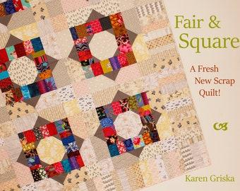 "Fair and Square Quilt Pattern, Scrap Quilt, Patchwork, Modern Quilt, Instant Download, 44"" x 61"""