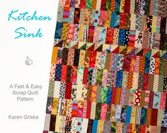 Kitchen Sink Quilt Pattern, Scrap Quilt Pattern, Modern Quilt Pattern, Saw Tooth Quilt, Twin Quilt, Easy Quilt Pattern, PDF