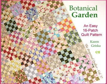 "Botanical Garden Quilt Pattern, Easy Scrap Quilt Pattern, Twin Quilt, Instant Download, 66"" x 83"", pdf"