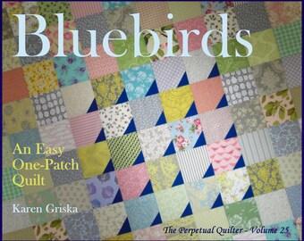 Bluebirds Quilt Pattern, Modern Quilt Pattern, Easy Quilt, Scrap Quilt, PDF, Immediate Delivery, qtm