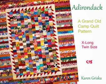 "Adirondack Scrap Quilt Pattern,  Extra Long Twin Quilt Pattern, Patchwork Quilt Pattern, pdf, 60"" x 80"""