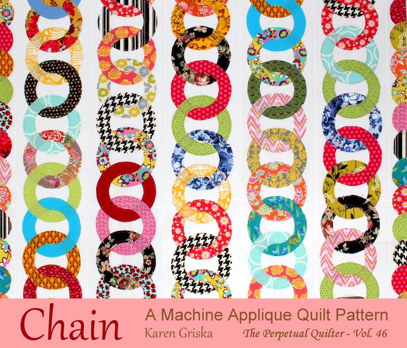 Chain Quilt Pattern Raw Edge Applique Quilt Pattern Instant image 0