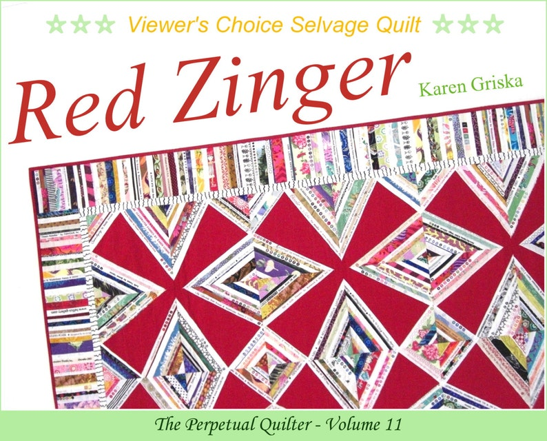 Red Zinger Selvage Quilt Pattern Upcycle Recycle PDF Quilt image 0