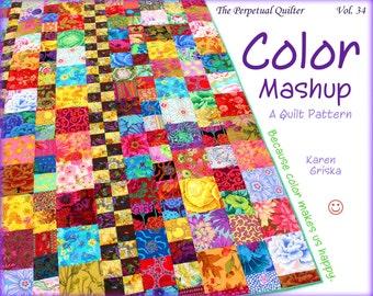 Color Mashup Quilt Pattern, Easy Quilt Pattern, One-Patch Quilt, Scrap Quilt, pdf, qtm, immediate download