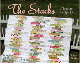 The Stacks Quilt Pattern, Modern Scrap Quilt Pattern, Easy Quilt, PDF, Instant Download, qtm
