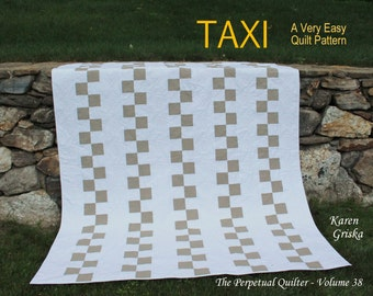 Taxi, Easy Quilt Pattern, Modern Quilt Pattern, Wedding Quilt Pattern, Twin Quilt, Checkered Quilt, Instant Download Quilt Pattern, qtm