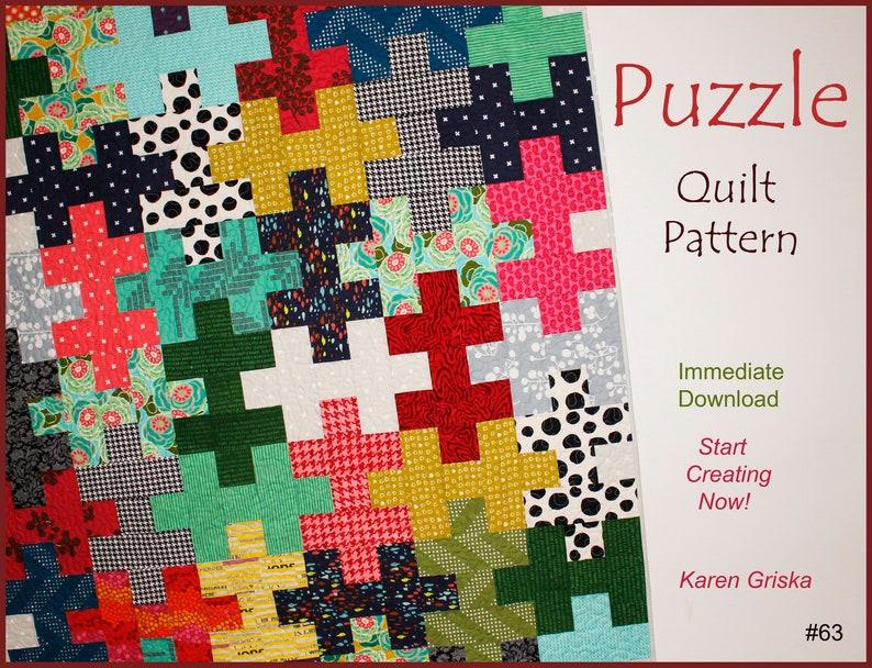 Puzzle Quilt Pattern Easy Quilt Scrap Quilt Gift Quilt image 0