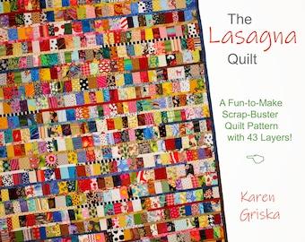 """The Lasagna Quilt, Scrap Quilt Pattern, Patchwork Quilt Pattern, Instant Download pdf, 51"""" x 67"""""""