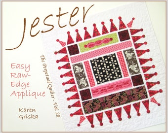 Jester Quilt Pattern, Easy Raw-Edge Applique Quilt Pattern, Modern Quilt Pattern, PDF, Wall Quilt, Art Quilt, qtm