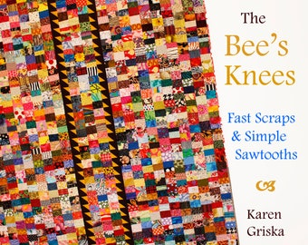 """The Bee's Knees, Scrap Quilt Pattern, Instant Download pdf, Twin Size Quilt, Fast Scraps and Simple Sawtooth, 62"""" x 80"""""""