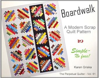 "Boardwalk Modern Quilt Pattern, Scrap Quilt, Throw Quilt, Lap Quilt, Wall Quilt, 51"" x 63"" PDF Instant Download Pattern"