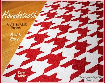 "Houndstooth Quilt Pattern, Modern quilt pattern, Retro quilt pattern, Twin, Easy, 61"" x 82"""