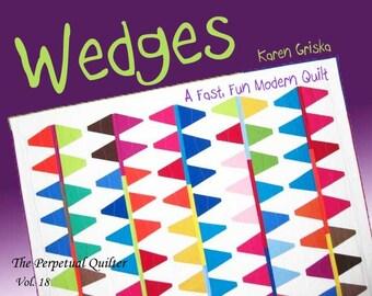 "Wedges Quilt Pattern, Modern Quilt Pattern, Improv, Abstract, 59"" x 64,"" PDF Pattern, qtm"