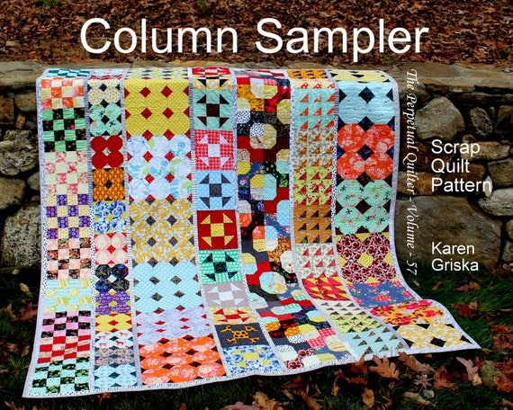 Column Sampler Quilt Pattern Easy Scrap Quilt Pattern Etsy Gorgeous Sampler Quilt Patterns