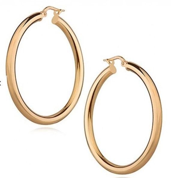 14 Karat Gold Hoops 14k Hoop Earrings Retro Earrings 14 Etsy