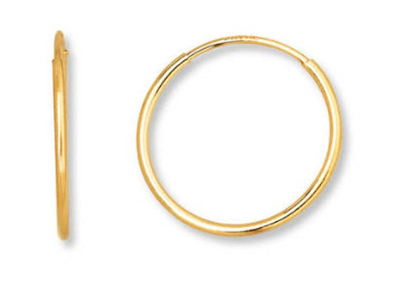 Gold Hoops Gold Hoop Earrings Retro Earrings 14 Karat Gold Etsy