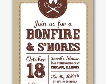 bonfire and s'mores campfire party custom invitation