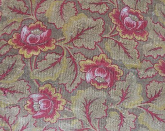 Antique French floral barkcloth fabric w flowers romantic ecru w pink fabric floral design vintage sewing fabric patchwork upholstery supply