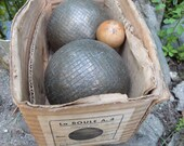 Antique French metal jeu de boule balls in original box, vintage LYON petanque balls boules w wooden ball, French primitive game set