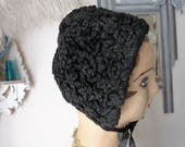 Antique French Victorian black lamb fur astrakhan girls bonnet hat coiffe handmade astrakan fur 1900s black curly fur coiffe from France