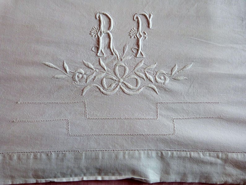 fb9cbce8bda47 Antique French linen dowry sheet hand monogrammed RF w roses embroidery  wedding linens embroidered ribbon bow drawnwork line heirloom linens