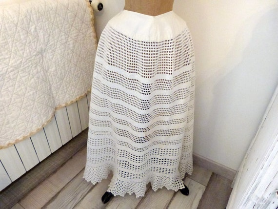 Antique white hand crocheted lace skirt French han