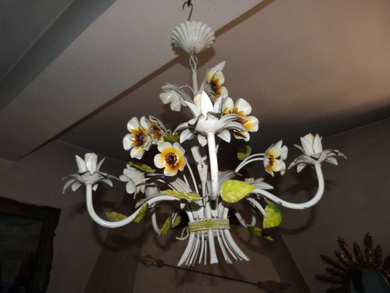 image 0 - Antique French Toleware Tole Chandelier Lamp Flowers Tole Etsy