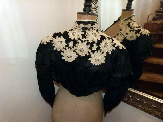 Antique French Victorian black silk w lace blouse