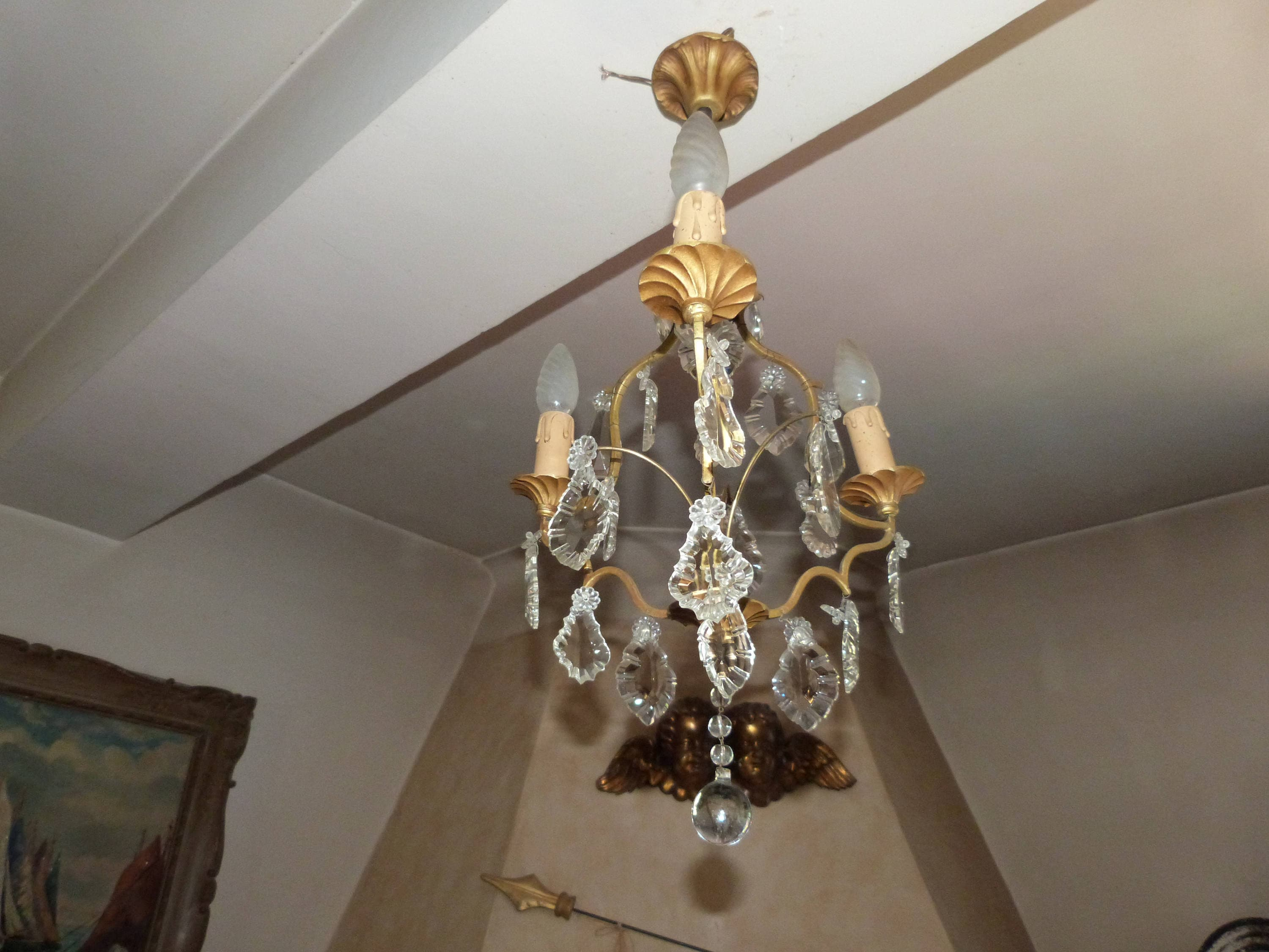 Antique 1900s French Crystal Prism Bronze Chandelier