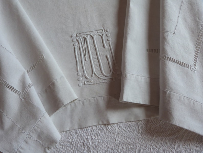 240bdbbb618eb Antique French linen dowry sheet hand monogrammed MC w dotted embroidery  wedding linens w monogram embroidery drawnwork line heirloom linens