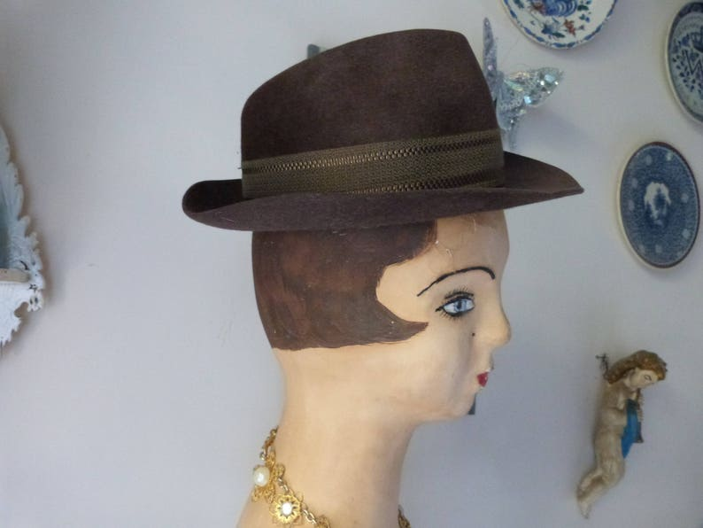 e805f4ffa Antique brown French borsalino hat, felt hat, gaucho hat, fedora hat, mens  or women hat, steampunk accessory w leather rim w bow