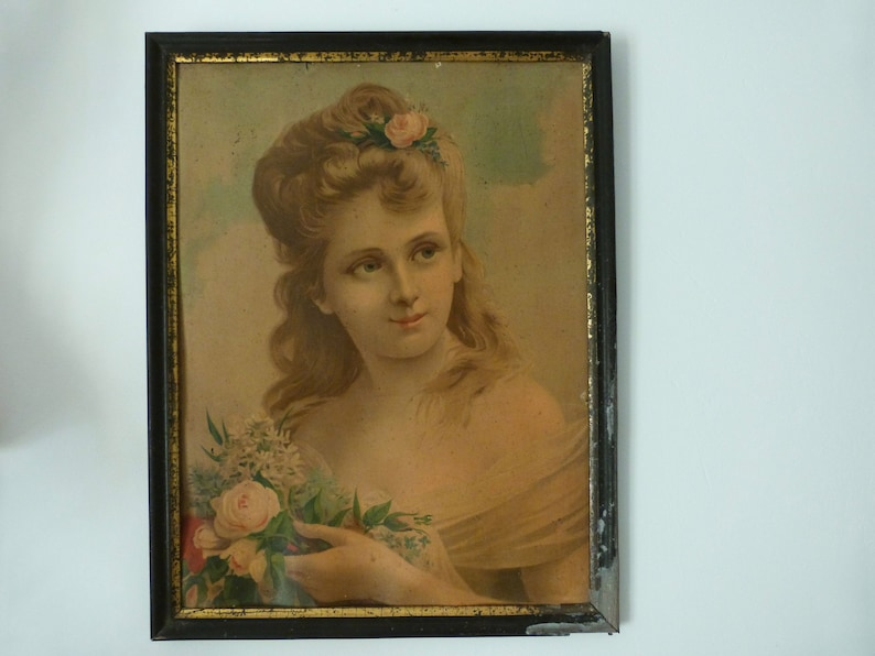 French home wall decor chromo lithographic art Antique French chromo frame 1800s chromolithography w young lady w roses