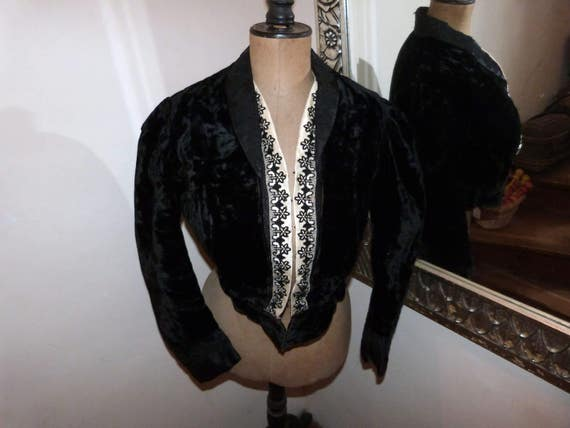 Victorian black silk velvet bolero jacket Antique