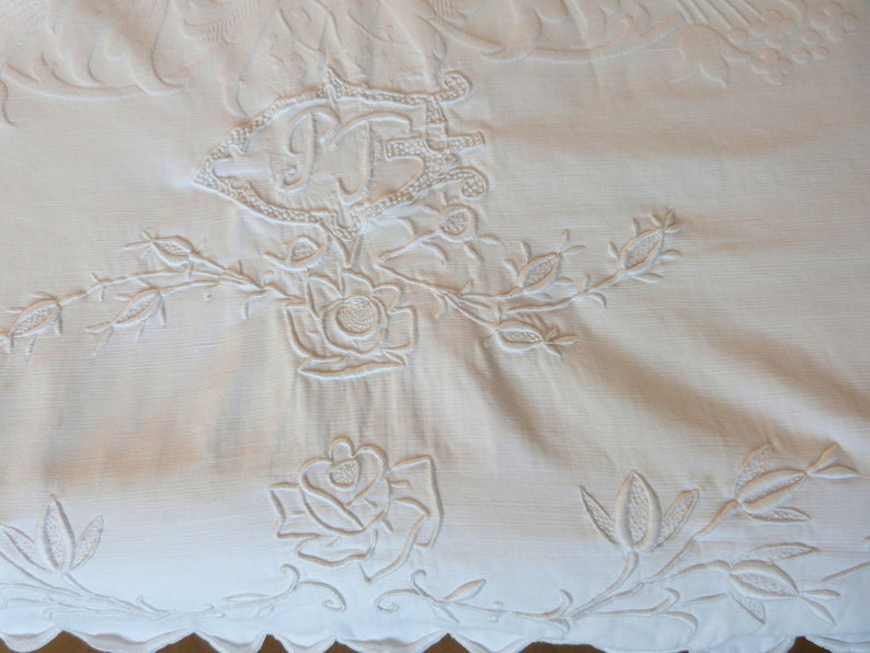 36b5712c37097 Antique French white bedspread monogrammed PJ large Provencal wedding throw  quilt coverlet spread raised floral design, heirloom bed linens