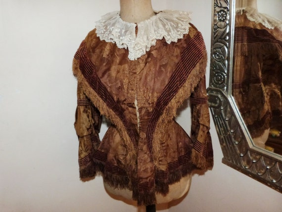 Rare Victorian silk brocade jacket blouse Antique
