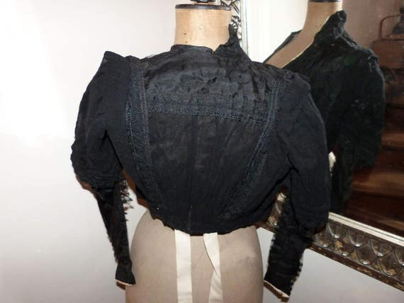 Victorian black lace blouse jacket Antique French